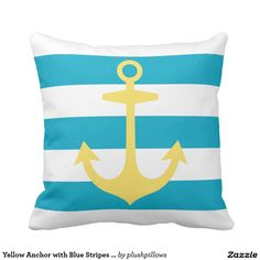 Yellow Anchor with Blue Stripes | Nautical