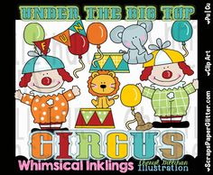 Under the Big Top 2 Clip Art - Commercial Use, Digital Image, Png, Clipart - Instant Download - Clowns, Carnival, Fairy, Cirucus, Birthday by ResellerClipArt on Etsy