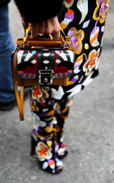 Colorful embellishment + prints Anna Dello Russo Street Style atSpring Summer 2014ParisHaute #Couture