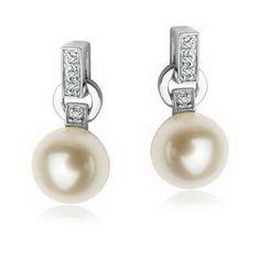 Piękne kolczyki z białego złota, perłą i diamentami - Biżuteria srebrna dla każdego tania w sklepie internetowym Silvea