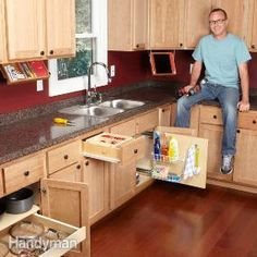 10 do-it-yourself projects to maximize kitchen storage. These 10 simple organization tips show how to turn empty space in kitchen cabinets and drawers into useful storage for supplies and utensils. Kitchen Organization, Organization Hacks, Kitchen Storage, Cabinet Storage, Organizing Tips, Organising Ideas, Organized Kitchen, Lid Storage, Organization Station