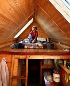 Tiny House Loft. Loft that has the skylight window. Lovely