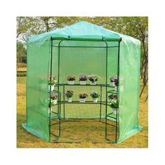 New Outdoor Portable Walk-In Hexagonal 3 Tier Shelving Plant Flower Greenhouse