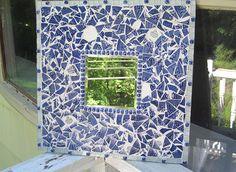 blue willow mosaic mirror