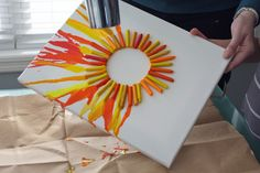 Sunshine Melted Crayon Art from Teal & Lime