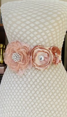 Handmade Floral Bridal Blush Pink Flower Sash Wedding Belt