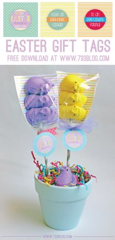 Peeps Pops and Easter Egg Favors with Free Printable Tags - seven thirty three
