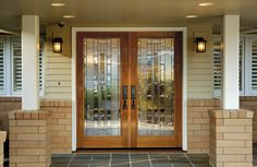 Doors: Solid Wood Front Entry Double Doors With Sidelights And Great Brick Wall Exterior Design from Great Home on the Double Front Entry Doors Entry Glass, Exterior Doors, Glass Panel Door, House Design, Front Door Handles, Double Doors Exterior, Wood Glass Door, Door Glass Design