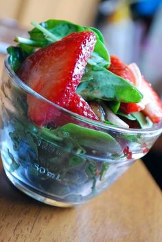 Strawberry, basil, balsamic vinaigrette:)