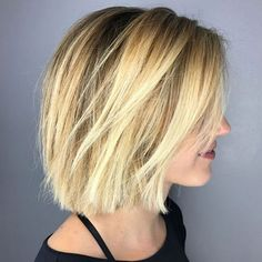 60 Beautiful and Convenient Medium Bob Hairstyles - Side-Parted Razored Bronde Bob - Bob Hairstyles For Fine Hair, Medium Bob Hairstyles, Hairstyles Haircuts, Short Straight Hairstyles, Blonde Short Hairstyles, Edgy Bob Haircuts, Casual Hairstyles, Trending Hairstyles, Latest Hairstyles
