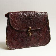 Vintage 1970s Red Tooled Leather Purse