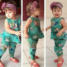 Polyester, Cotton Sleeveless Machine washable Fits true to size Two piece set includes: 1 x top, 1 x bottom Peplum design Outfits Niños, Baby Outfits, Kids Outfits, Toddler Dress, Toddler Girl, Baby Girls, Baby Girl Fashion, Kids Fashion, Baby Dress Patterns