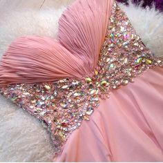 Pink prom dress with jewel diamanté detail on the sides and front