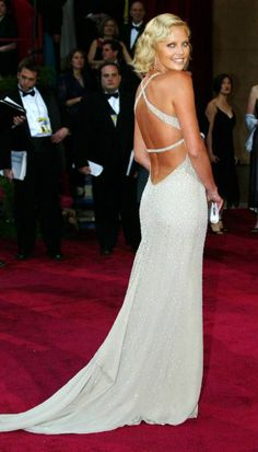 oscar dress red carpet Charlize Theron in Gucci at the Oscars 2004. Monster to Beauty