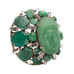 Крупное кольцо Будда в зеленых тонах