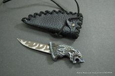 Купить Нож Черный Волк (резная рукоятка) в ножнах - нож, ножи, Нож ручной работы