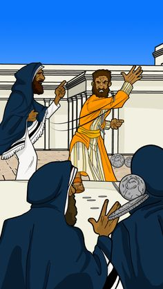 Realizing he had betrayed the Messiah, Judas returns thirty silver coins to the religious leaders at the Temple.