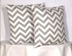 "18"" Chevron Zig Zag Pillow Set - Set of 18 x 18 Inch Chevron Pillow Covers - Grey and White - TWO PILLOW COVERS. $26.00, via Etsy."