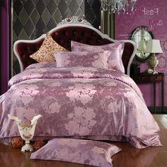 Estee Purple Jacquard Damask Luxury Bedding
