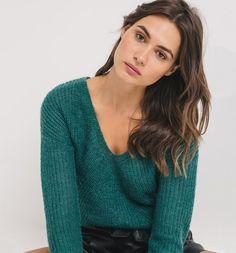 Pullover+mit+V-Ausschnitt