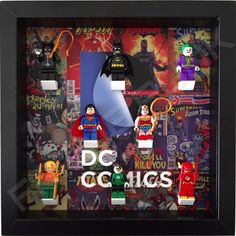 DC Comics Minifigure Display Frame With Lego Minifigures.