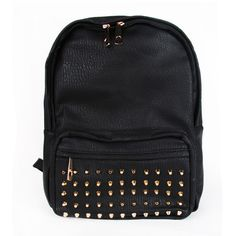 Leather studded backpack ($98) ❤ liked on Polyvore featuring bags, backpacks, leather studded backpack, studded leather bag, day pack backpack, backpacks bags and rucksack bag