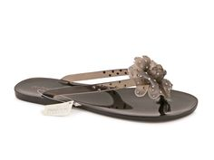 Ménghi women's thong slippers in black rubber - Italian Boutique €56