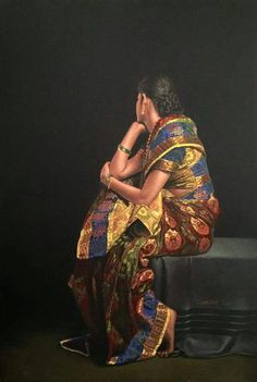 61 Trendy Ideas For Drawing Poses Girl Artists Indian Women Painting, Indian Artist, Indian Paintings, Famous Artists Paintings, Realistic Paintings, Realistic Drawings, Original Paintings, Painting People, Woman Painting