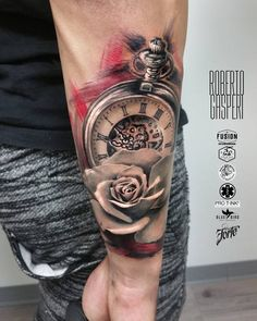 Perfect black and red tattoo of Pocket Watch and Rose motive, done by artist Roberto Gasperi from Italy