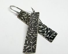 Sterling Silver Leaf Pattern Rectangle Earrings