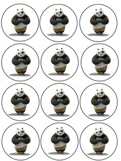 "Single Source Party Supply - 2.5"" Kung Fu Panda Cupcake Edible Icing Image Toppers"