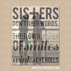 Sister gift // Sisters Don't need words Q04 // Style by PaperRamma