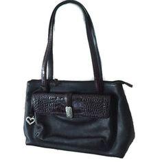 Brighton Purse Satchel Black Bag Pebble Leather Handbag