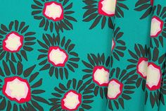 Britex Fabrics -  Teal Green Perky Floral Silk - Clearance Sale Fabric  - Sale