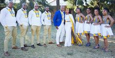 Presenting Mr and Mrs Mokgatle and their squad! African Wedding Attire, African Attire, African Wear, African Women, African Dress, African Traditional Wedding Dress, Traditional Outfits, Traditional Weddings, African Print Fashion