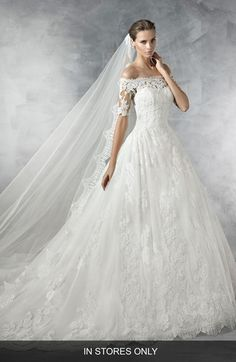 Main Image - Pronovias Pleasant Off the Shoulder Tulle & Lace Ballgown (In Stores Only)
