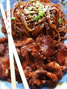 Funky Chicken With Sesame Noodles from Food.com: This has to be one of the most amazing chicken dishes I have ever made or eaten. It's really scary to watch people just attack this dish and practically inhale it in one breath. Brush up on your Heimlich Maneuver, people do get a little over-enthusiastic over this. Prep time includes marinating time.