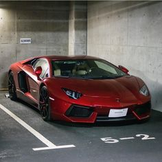 Lamborghini Aventador Coupe painted in Rosso Efesto Photo taken by: @kenmsaito…