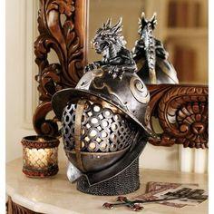 Design Toscano Dragon Warrior Helmet Illuminated Sculpture, Grey