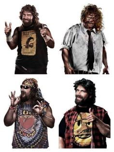 4 Faces of Beard - Cactus Jack, Mankind, Dude Love, Mick Foley. Ecw Wrestling, Watch Wrestling, Wrestling Stars, Wwf Superstars, Wrestling Superstars, Shawn Michaels, Undertaker, Mick Foley, Wwe Tna