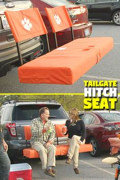 Taking the cargo carrier to a whole new level! Carry your gear to the tailgate or your favorite hunting/fishing spot, then convert it to a comfortable seat. You can also show off your school colors. Truck Tailgate, Tailgate Bench, Motorhome, Truck Accesories, Car Gadgets, Camping Gadgets, Jeep Camping, Truck Mods, Volkswagen