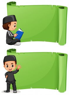Muslim boy and green banner template Premium Vector Cute Backgrounds For Phones, Educational Activities For Preschoolers, Powerpoint Background Templates, Muslim Images, Background Banner, Vector Background, Boarder Designs, Cartoon Clouds, Islamic Cartoon