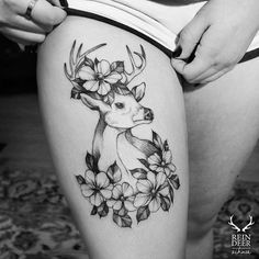 Deer and flower thigh tattoo - 45 Inspiring Deer Tattoo Designs Girly Tattoos, Trendy Tattoos, Rose Tattoos, Sexy Tattoos, Sleeve Tattoos, Hand Tattoos, Tattoo Girls, Tattoo Designs For Girls, Best Tattoo Designs