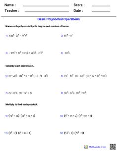 Basic Polynomial Operations Worksheets