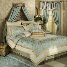 Duchess Rose Comforter Set Misty Blue