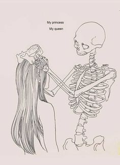 Something to draw for a girl creative drawing ideas for kids how to Skeleton Drawings, Skeleton Art, Dark Art Drawings, Art Drawings Sketches, Skeleton Love, Skeleton Makeup, Skull Makeup, Makeup Eyes, Haenuli Shin