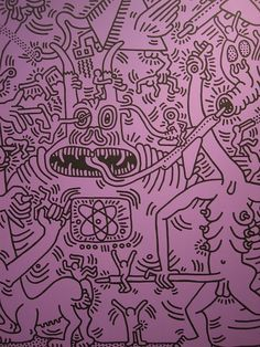 "Keith Haring got his start doing graffiti in the subways of NYC. His signature doodles are dancing figures, ""radiant babies"", barking dogs, and hearts. Arte Pop, Graffiti Art, Bad Painting, Art Furniture, Jm Basquiat, James Rizzi, Illustrations, Illustration Art, Keith Haring Art"