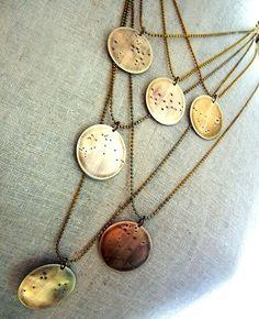 Zodiac constellation necklaces by E. Ria Designs