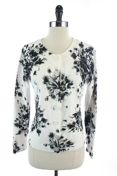 Recycle Your Fashions TALBOTS Black White FLORAL PIMA COTTON Button Down SWEATER CARDIGAN Blouse TOP M