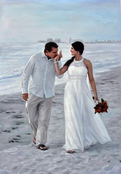 Beach Wedding Photo into Painting